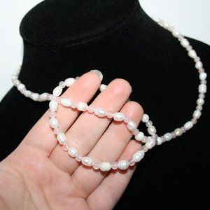 Natural pearl and rose quartz necklace bracelet